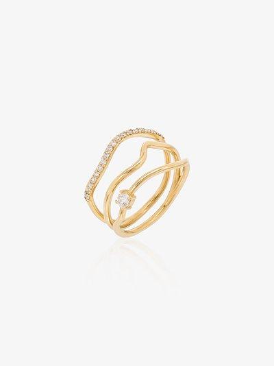 18K yellow gold Trio diamond stack ring
