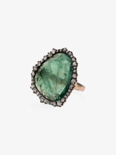 18K gold emerald slice diamond ring