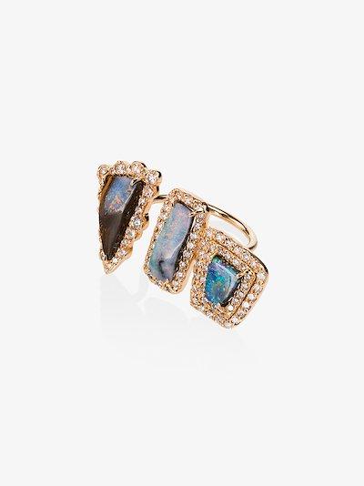 18K Rose Gold Boulder 3 Opal diamond ring