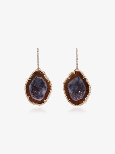18K rose gold geode diamond drop earrings