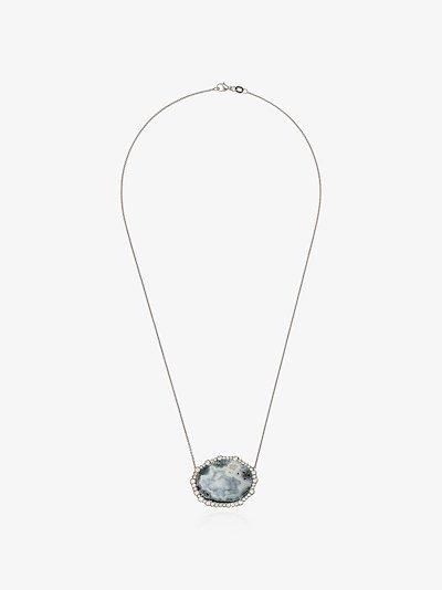18K White gold diamond frame geode necklace