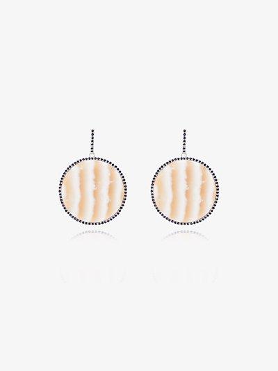 18K white gold striped disc sapphire drop earrings