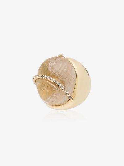 18K yellow gold diamond quartz ring