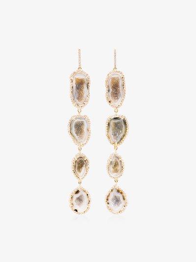 18K yellow gold geode diamond drop earrings