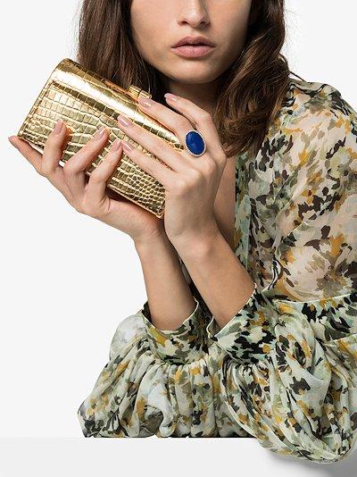 18K yellow gold lapis lazuli diamond ring