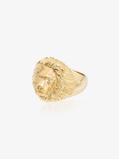18K yellow gold lion head diamond ring