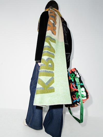 green Type logo wool scarf