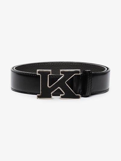 Black K buckle leather belt