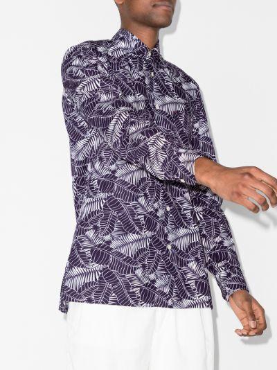 Sport leaf print cotton shirt