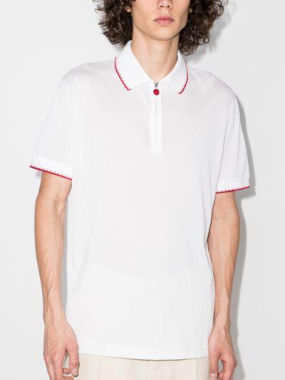 zip-up cotton polo shirt