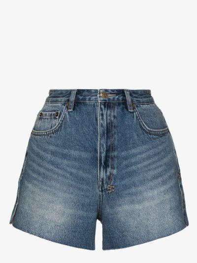 Rise N Hi frayed denim shorts