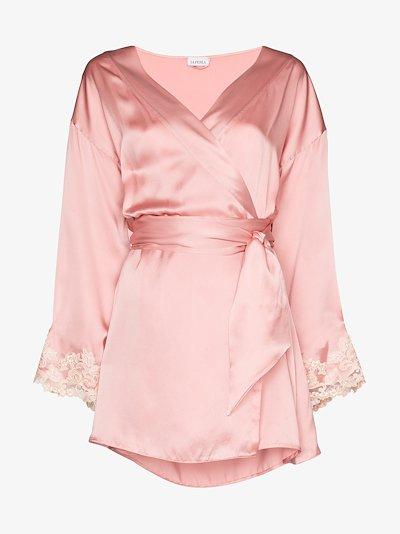 Maison Lace Trim Silk Robe