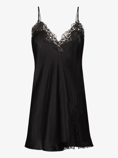 Petite Macramé Silk Slip Dress