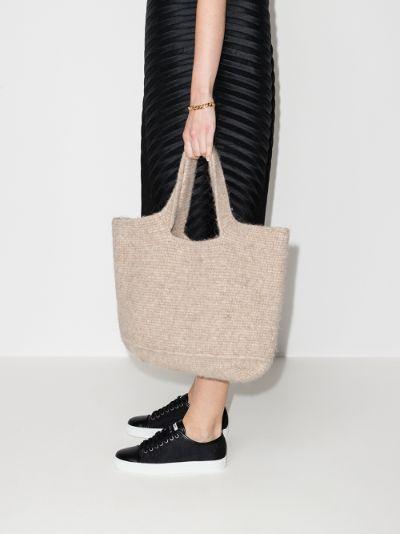 neutral large wool tote bag