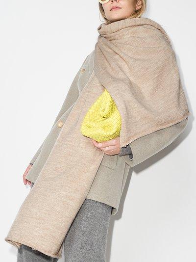 neutral rolled trim scarf