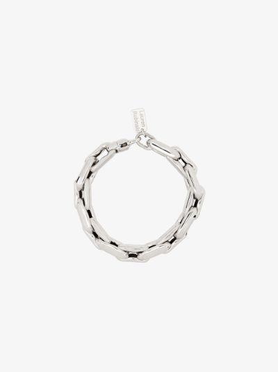 14K white gold medium square link bracelet