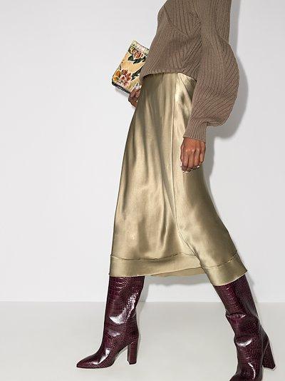high waist silk slip skirt