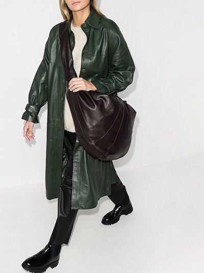 brown giant croissant leather shoulder bag