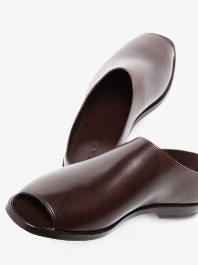 dark brown cutout leather mules