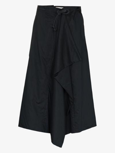 drawstring waist flared skirt