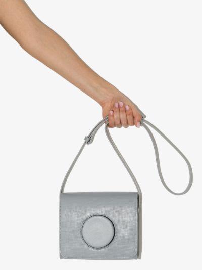 grey leather camera bag