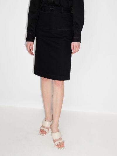high waist straight denim skirt