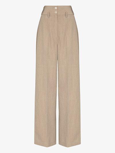 high waist wool gabardine wide leg trousers