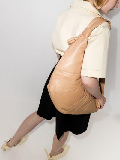 Neutral Croissant large leather shoulder bag