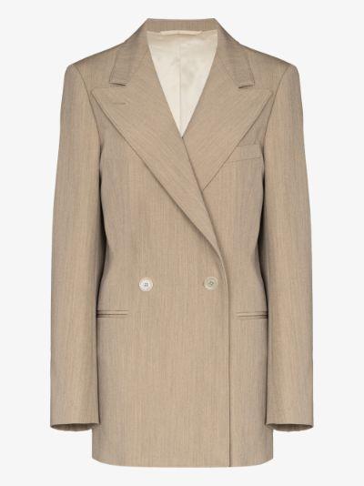oversized double-breasted wool gabardine blazer