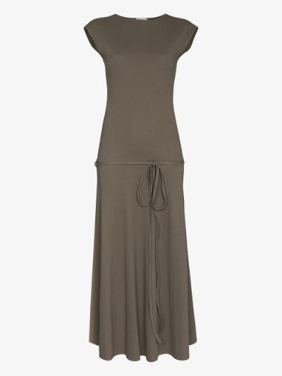 sleeveless flared midi dress