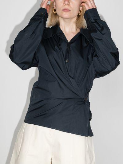 Twist front cotton shirt