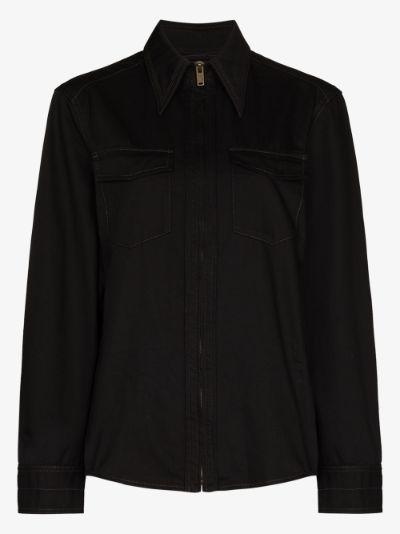 zip-up denim shirt
