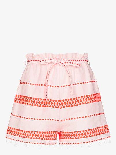 Jemari tie waist striped shorts