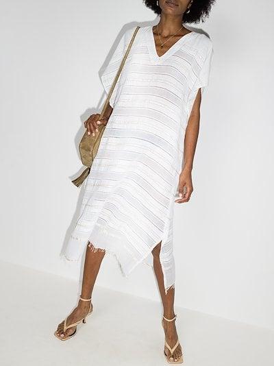 Kelali striped cotton kaftan dress