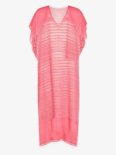 Wubet striped cotton kaftan dress