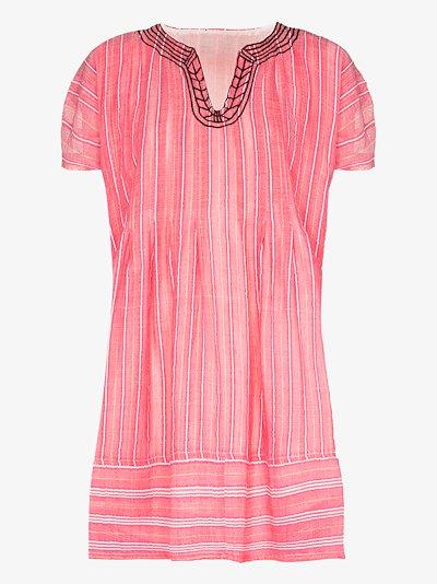 Wubet striped cotton kaftan mini dress