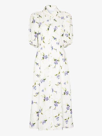 hydrangea print cutout shirt dress