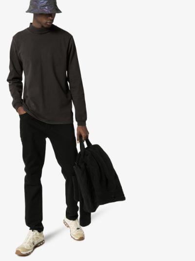 Black crew neck long sleeve cotton T-shirt