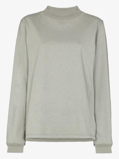 cotton mock neck sweatshirt