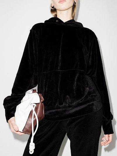 cropped velvet hoodie