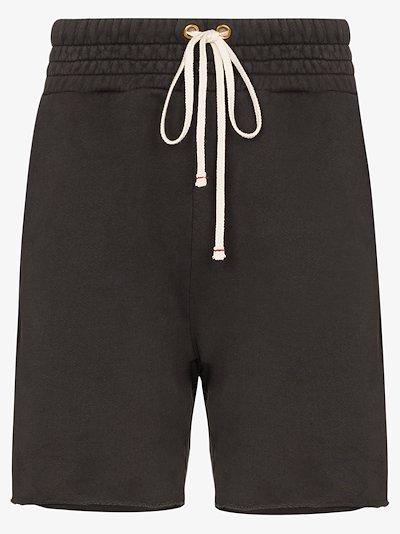 grey Ragged hem drawstring shorts