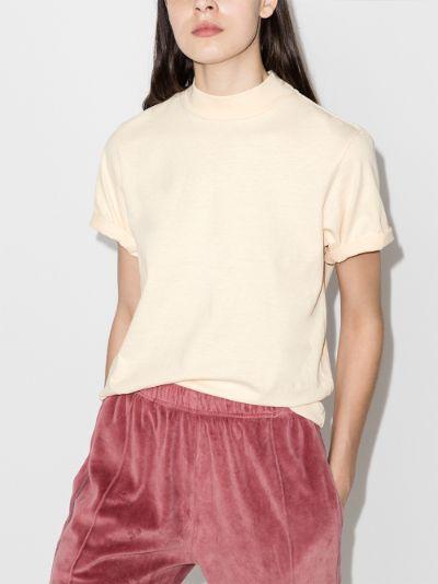 mock neck cotton T-shirt