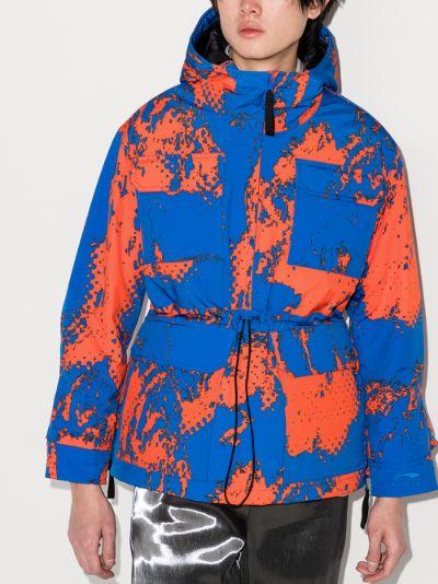 printed down hooded jacket