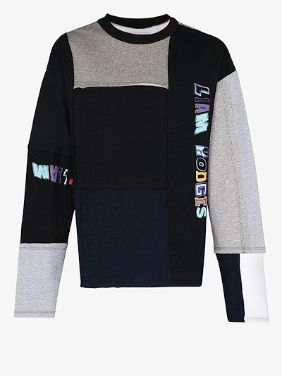 patchwork overprint sweatshirt