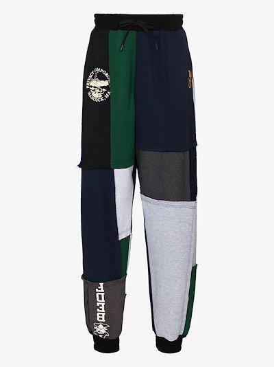 patchwork overprint track pants