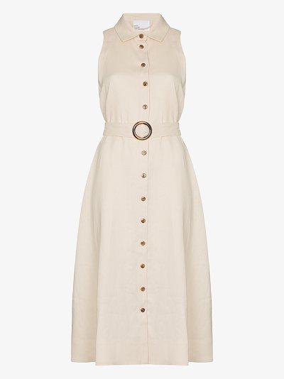 Alison buttoned linen midi dress