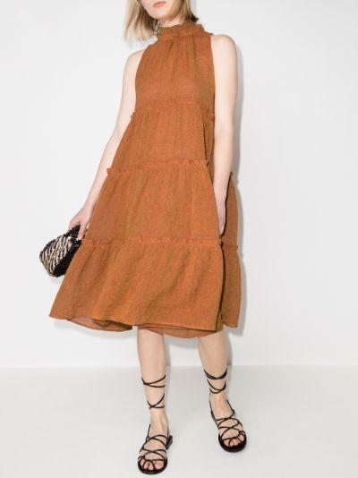 Erica organic linen tiered midi dress