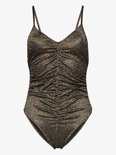 metallic ruched camisole bodysuit