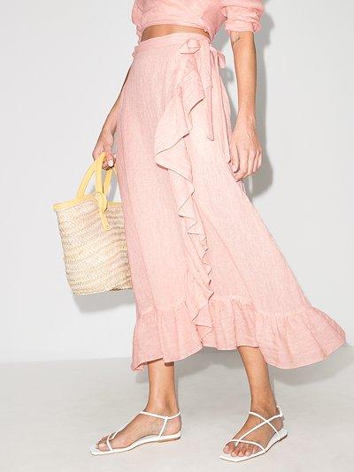 metallic ruffle trim wrap skirt