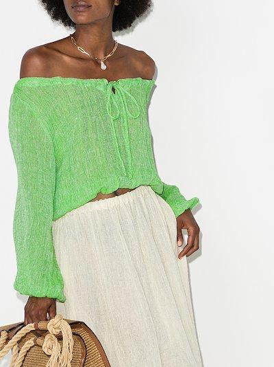 off-the-shoulder gauze blouse